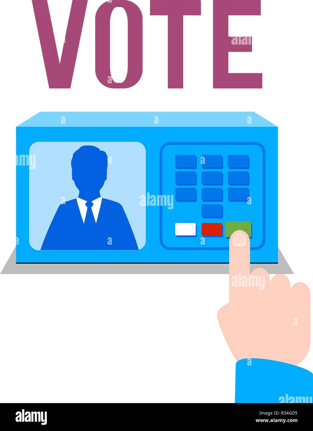 Electronic ballot box. Vector illustration. Isolated. Eps 10 - Stock Image