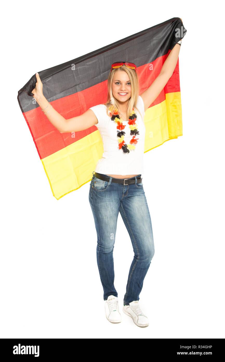 female germany fan - Stock Image