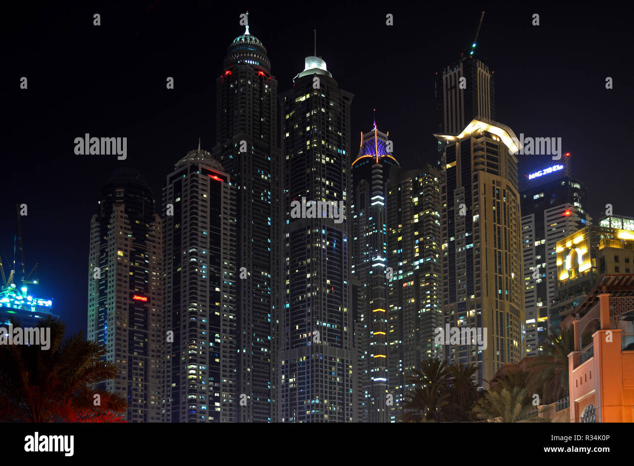 skyscrapers at night - Stock Image