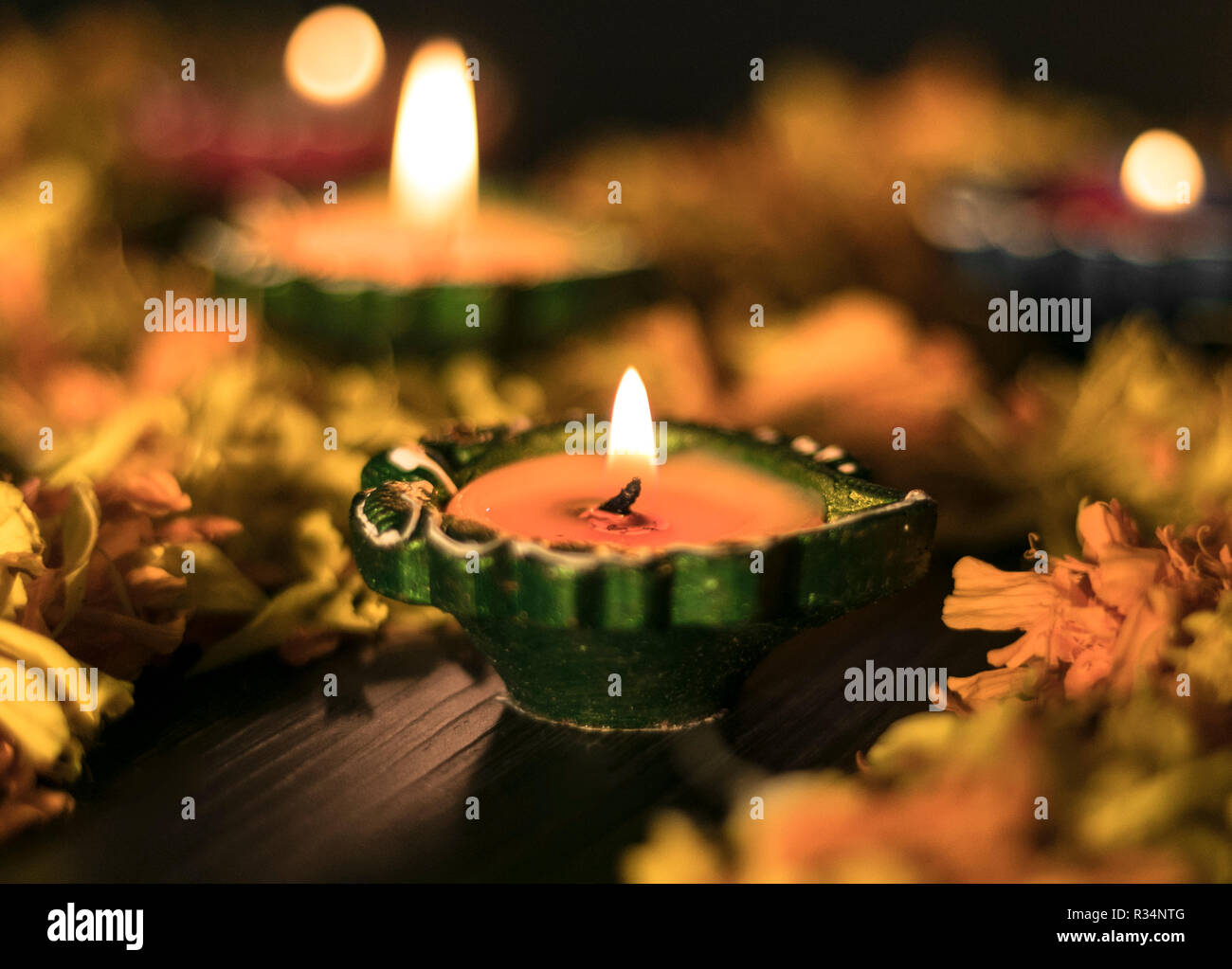 A front view of diya for celebrating diwali and dhanteras in Asia Stock Photo