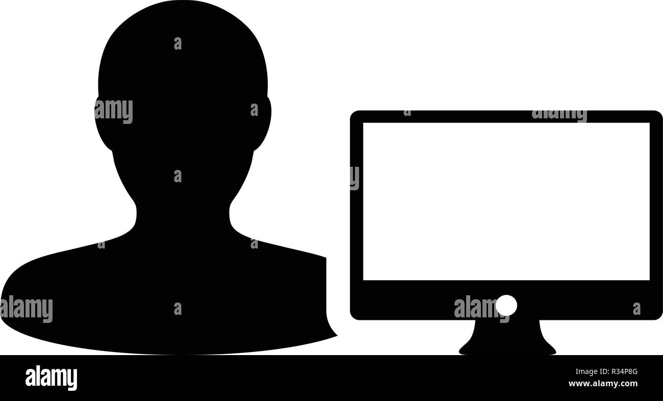 Outsourcing icon vector male person user with computer monitor screen avatar in flat color in Glyph Pictogram Symbol illustration - Stock Image