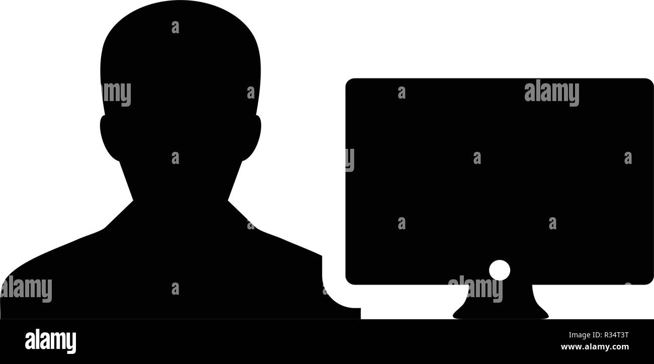 Technology icon vector male person user with computer monitor screen avatar in flat color in Glyph Pictogram Symbol illustration - Stock Image