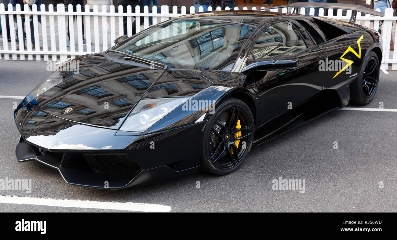 Three-quarter front view of a Lamborghini Murcielago LP 670–4 SuperVeloce, on display in the supercar paddock, of the Regents Street Motor Show 2018 Stock Photo
