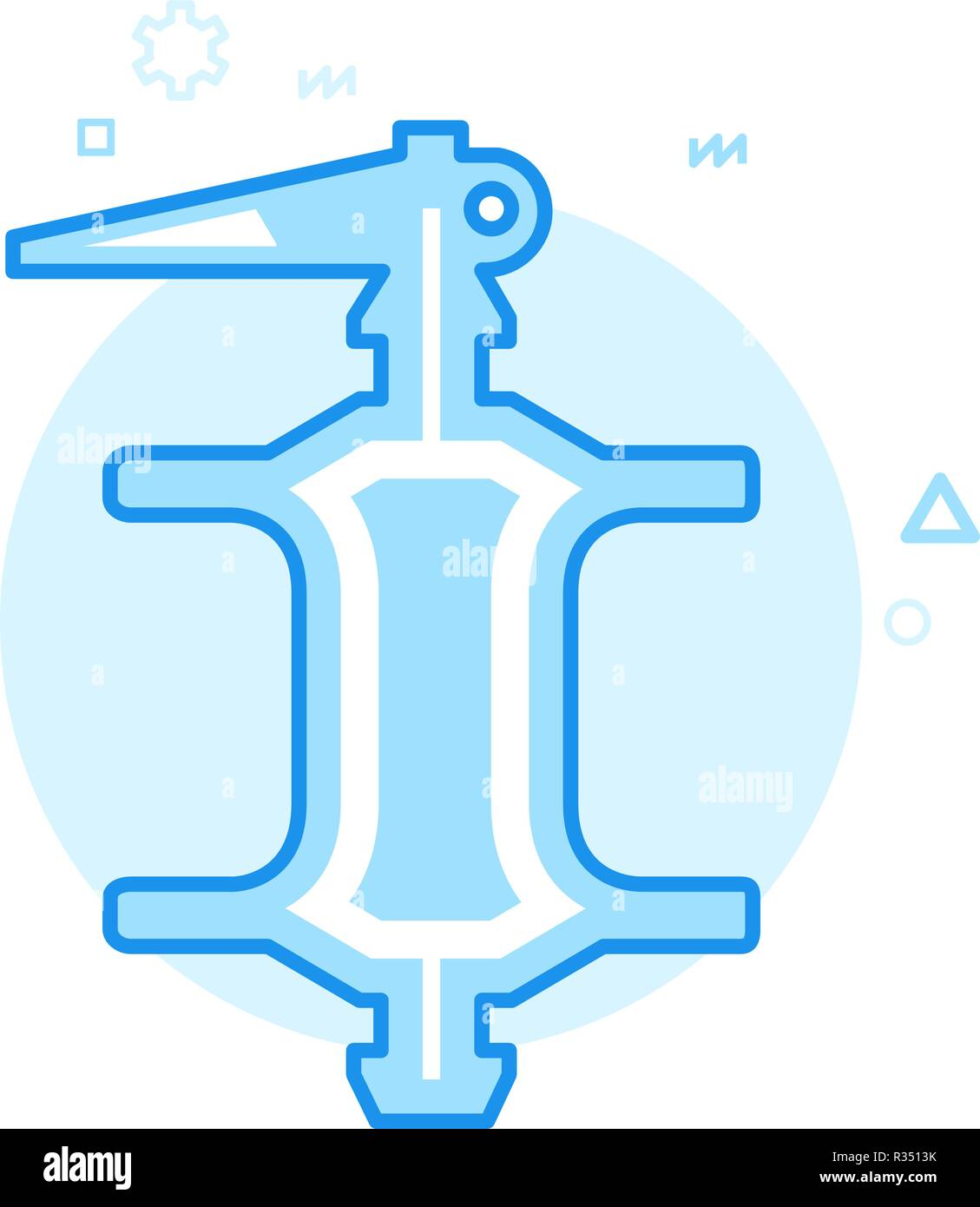 Bike or Bicycle Rear Hub Flat Vector Icon, Symbol, Pictogram, Sign. Blue Monochrome Design. Editable Stroke - Stock Vector