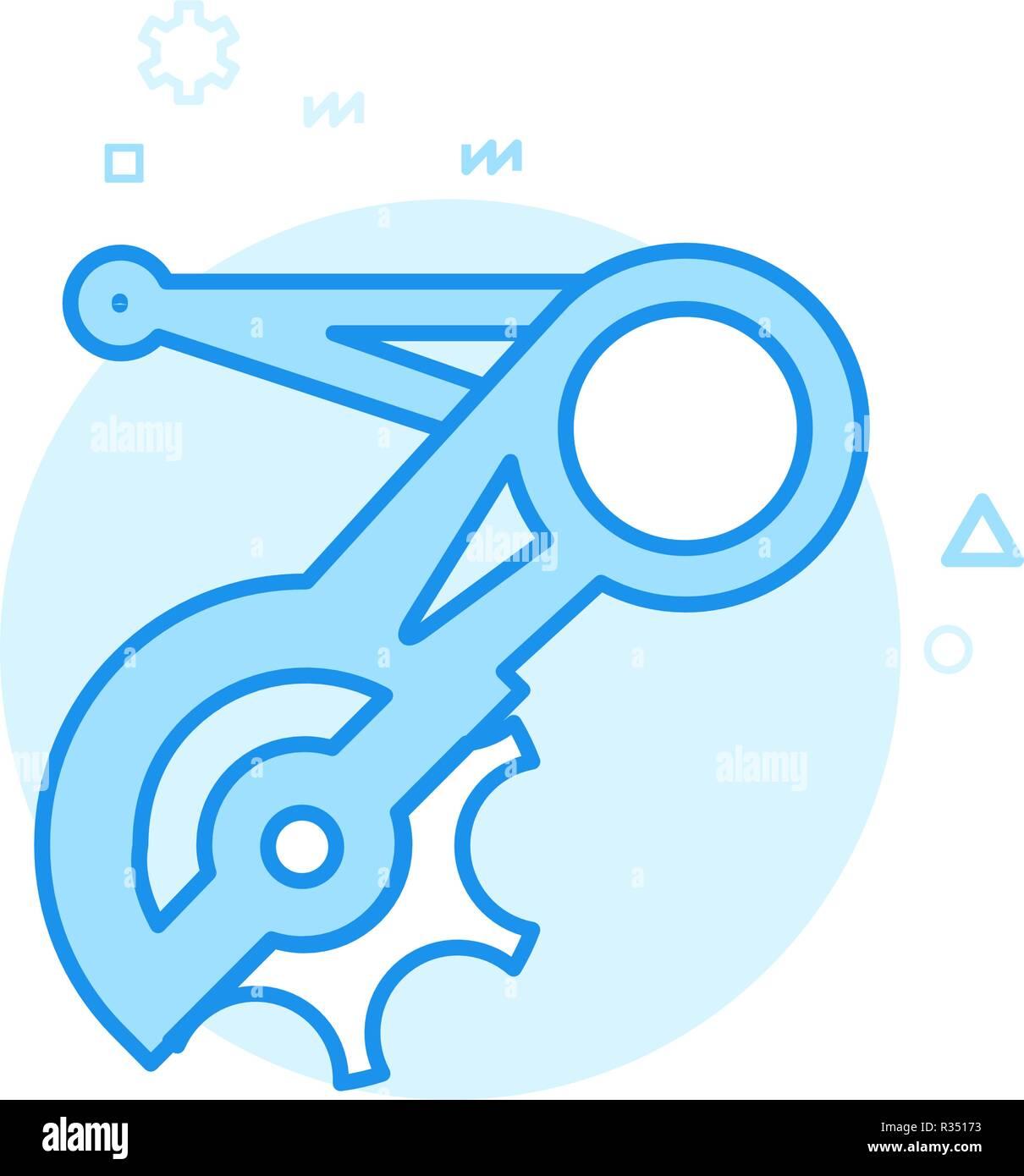 Bike or Bicycle Rear Derailleur Flat Vector Icon, Symbol, Pictogram, Sign. Blue Monochrome Design. Editable Stroke - Stock Vector
