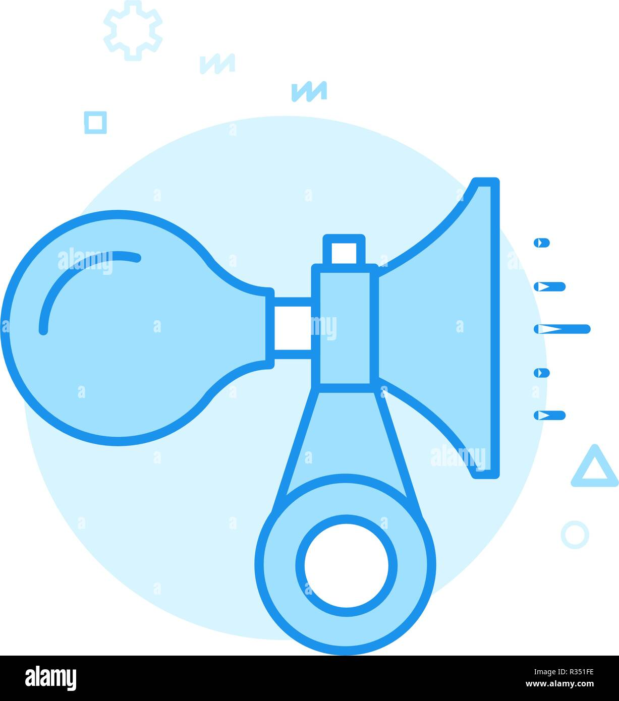Bike or Bicycle Horn Flat Vector Icon, Symbol, Pictogram, Sign. Blue Monochrome Design. Editable Stroke - Stock Image