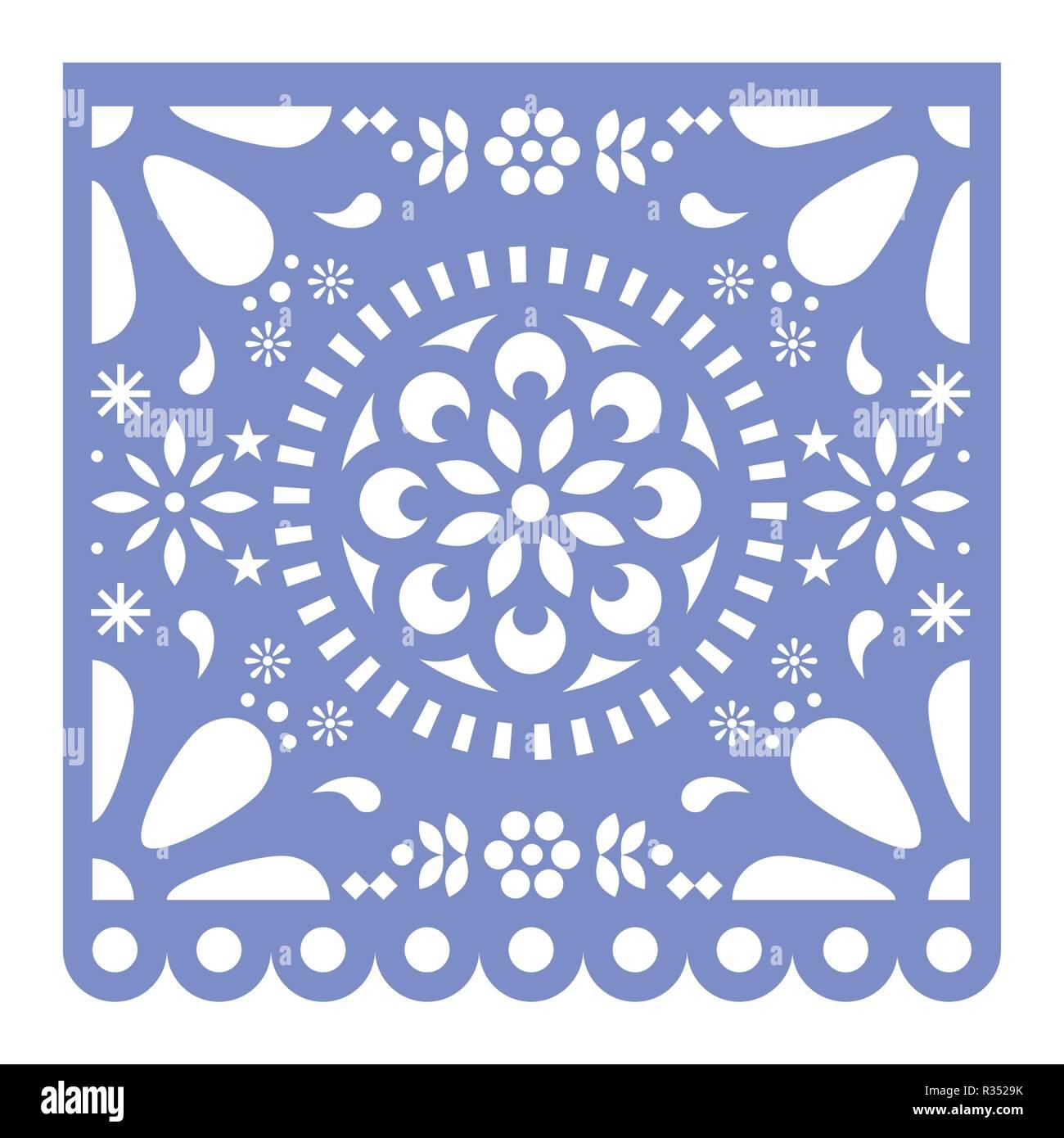 Mexican Papel Picado Cutout Vector Design Happy Purple Paper Fiesta