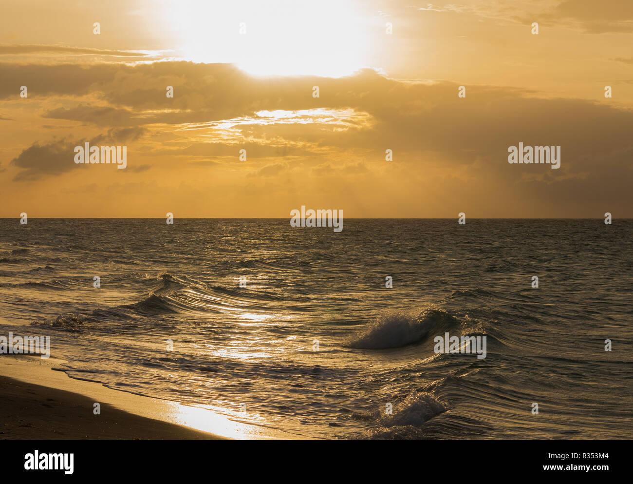Cuba ocean view at sunset - Stock Image