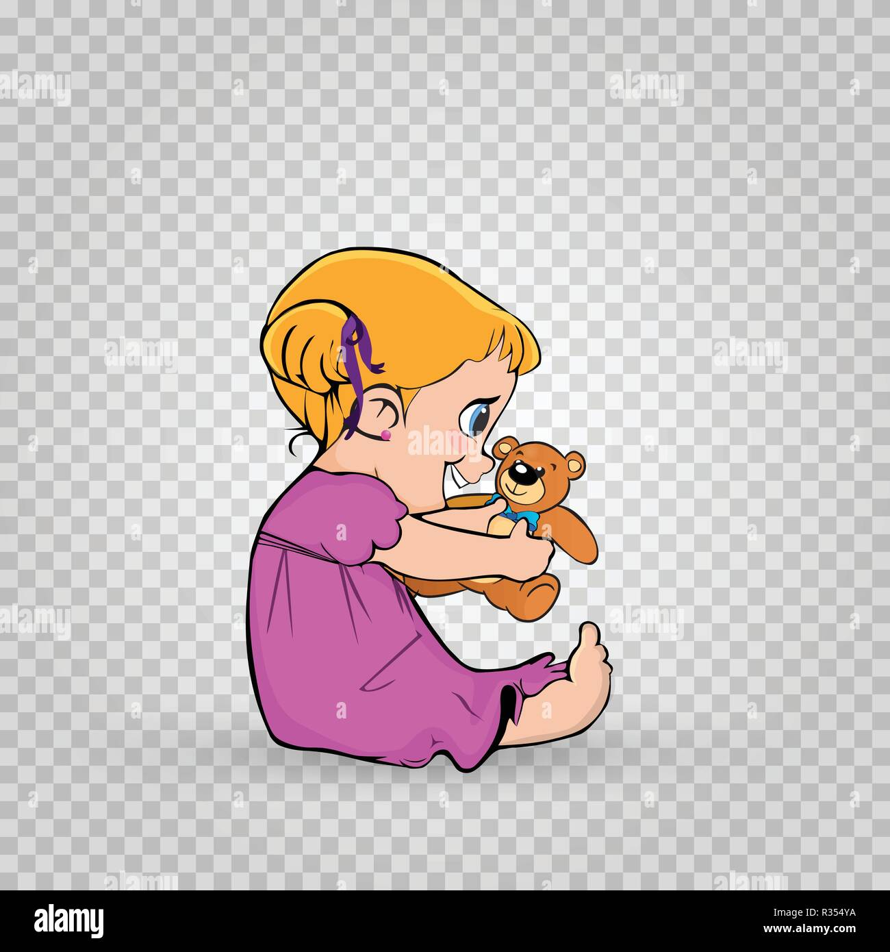 Cute little kawaii baby girl character in pink dress playing with teddy bear toy gift sitting on the floor isolated on transparent background. Vector  - Stock Vector