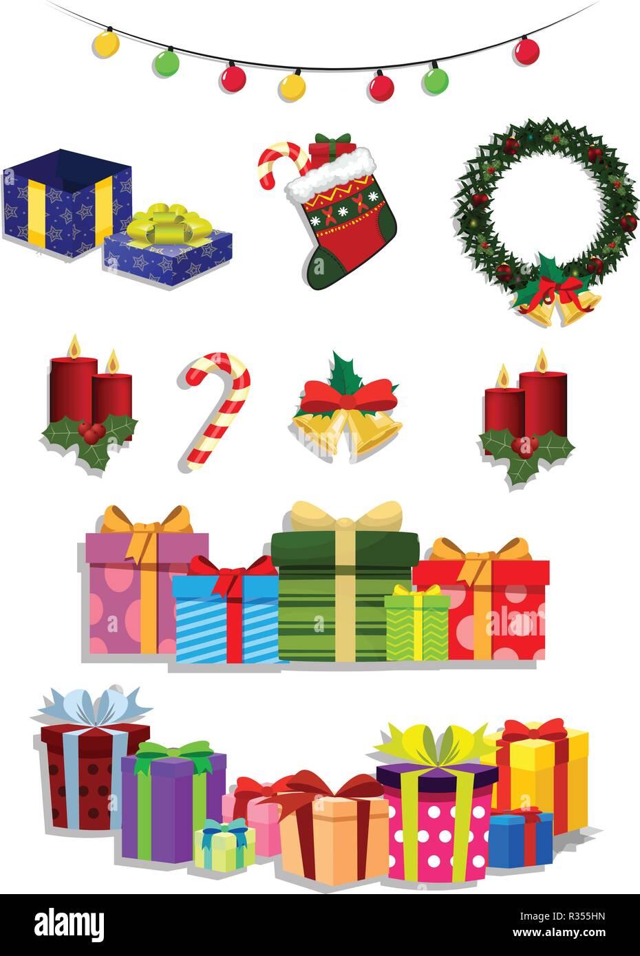 Christmas Set.Vector Christmas Set Of Cute Cartoon Festive Attributes