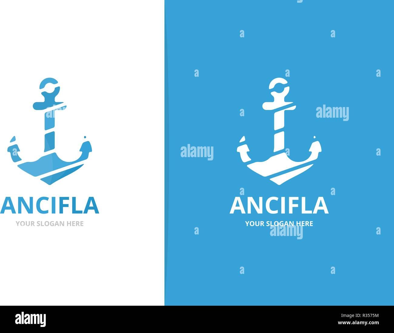 Vector anchor logo combination. Marine and nautical symbol or icon. Unique navy logotype design template. - Stock Image