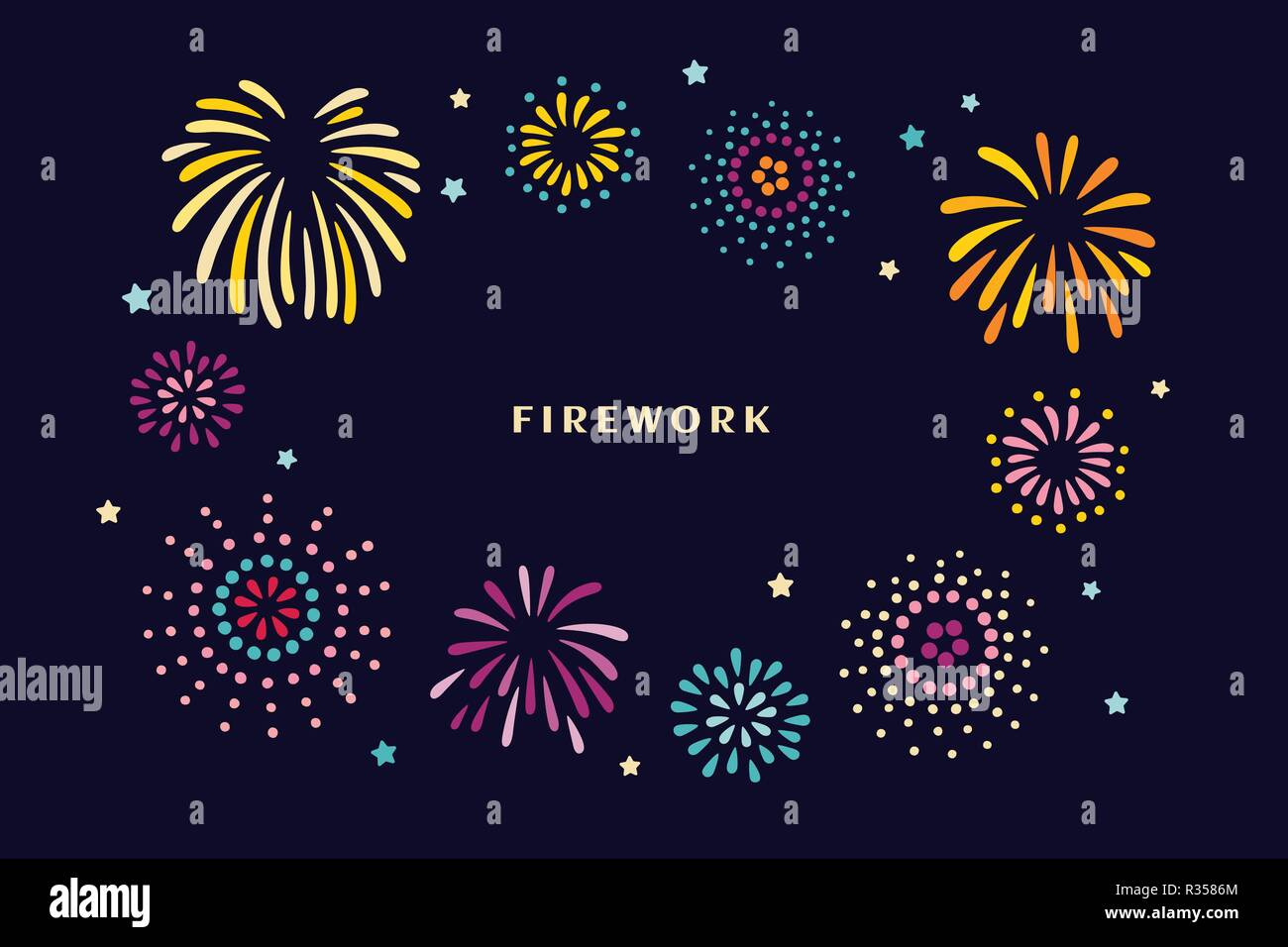 Beautiful fireworks in the night sky in flat design - Stock Vector