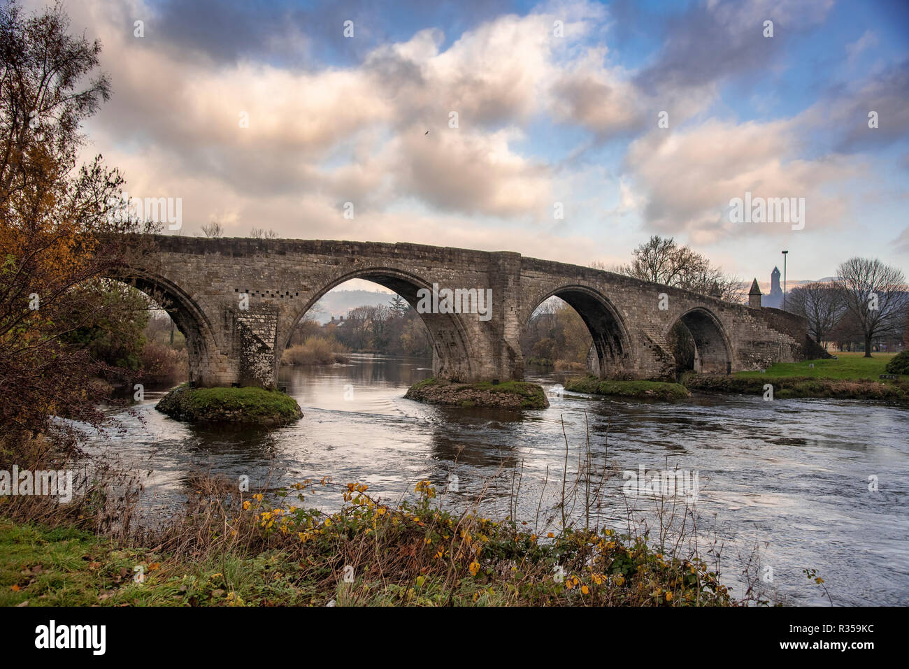 The Old bridge at Stirling over the river Forth. - Stock Image