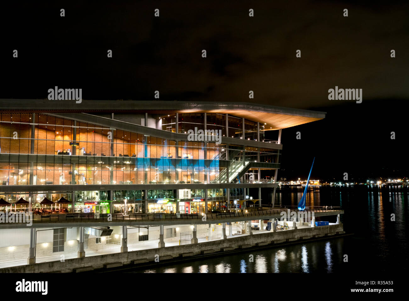 Vancouver Convention Centre at night. - Stock Image