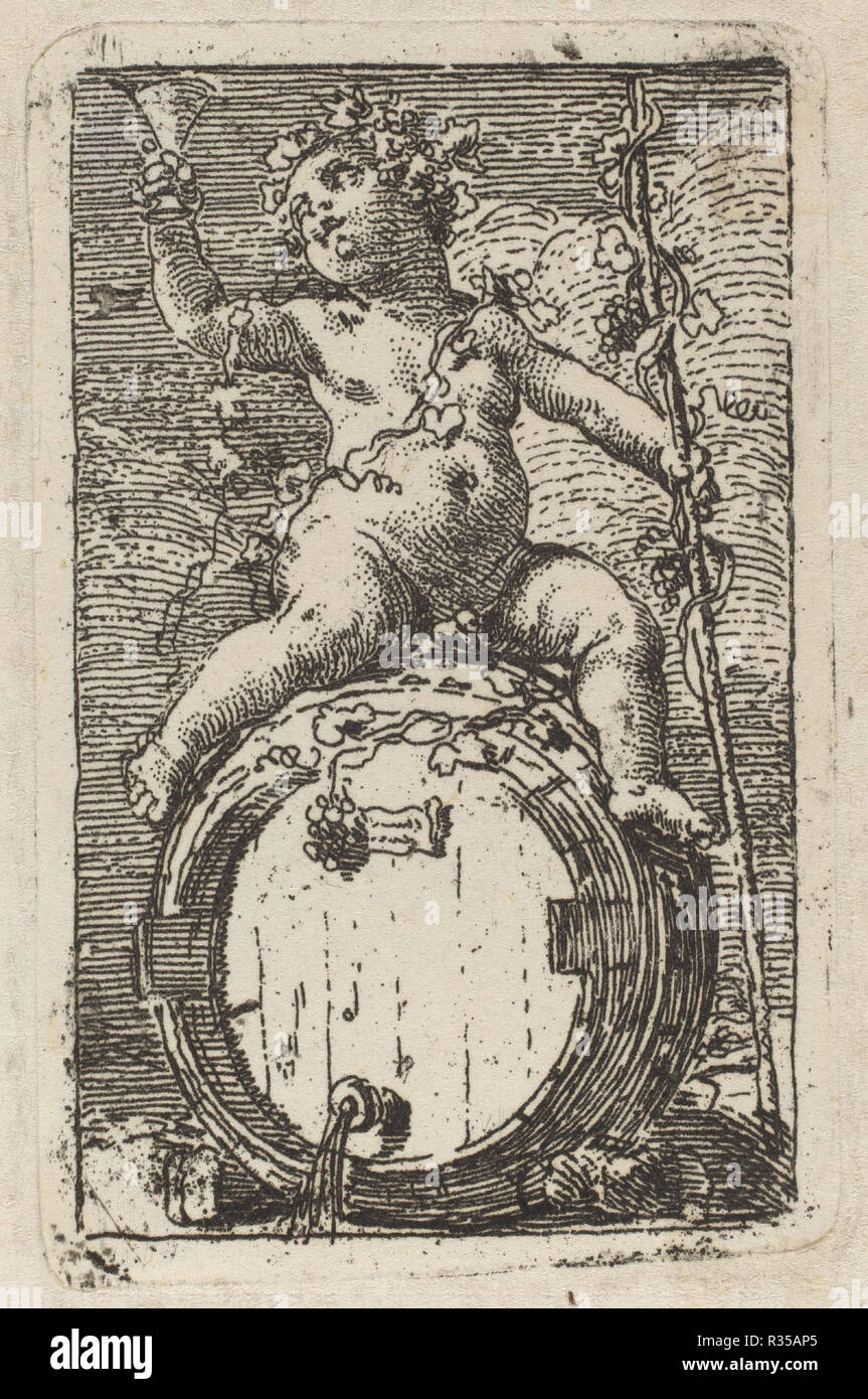 The Infant Bacchus Astride A Wine Barrel Dimensions Plate 66 X