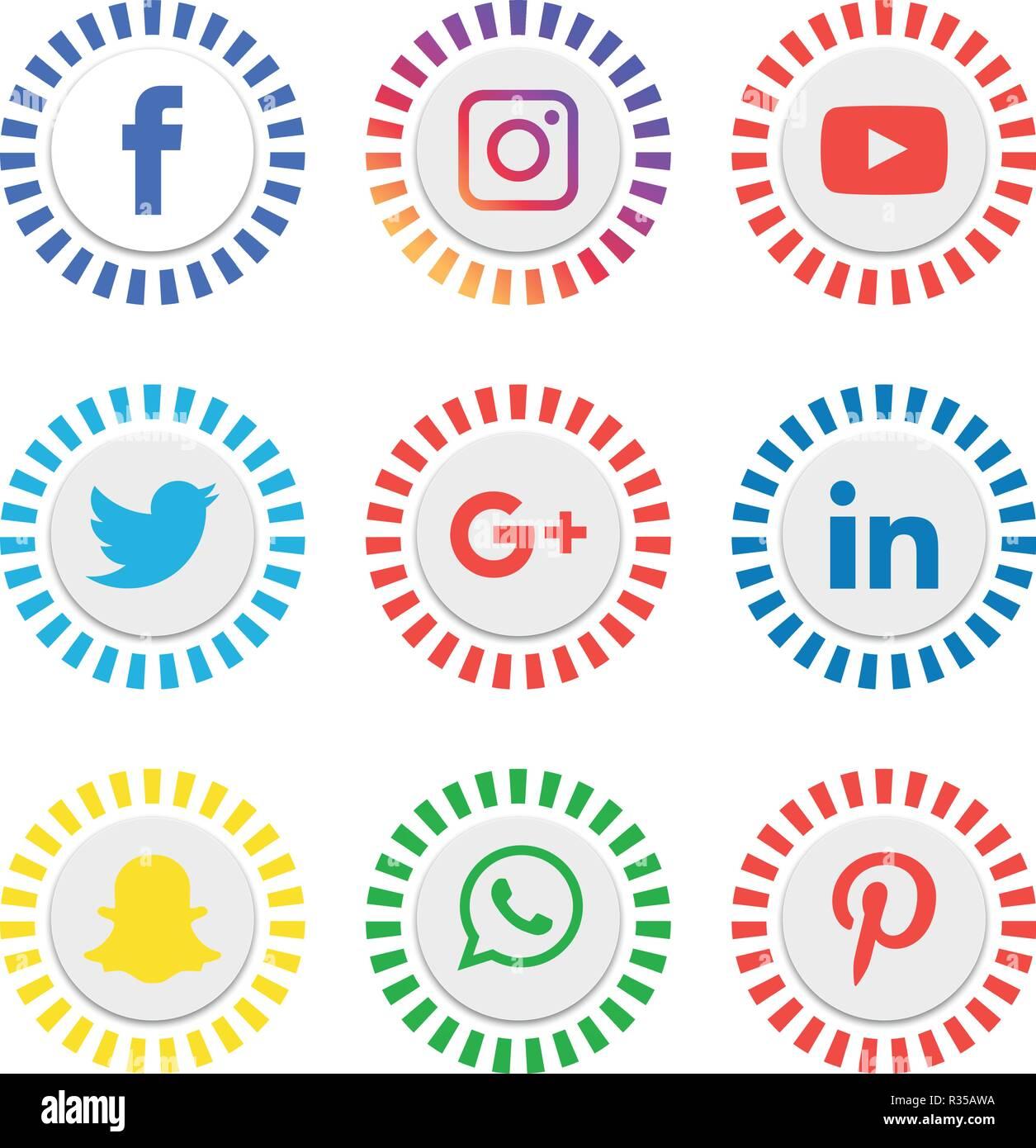 Vector Illustration Instagram: Social Media Icons Set Logo Vector Illustrator, Facebook