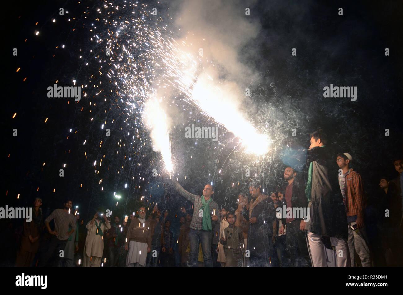 Pakistani faithful Muslims take a part of Eid Milad-un-Nabi