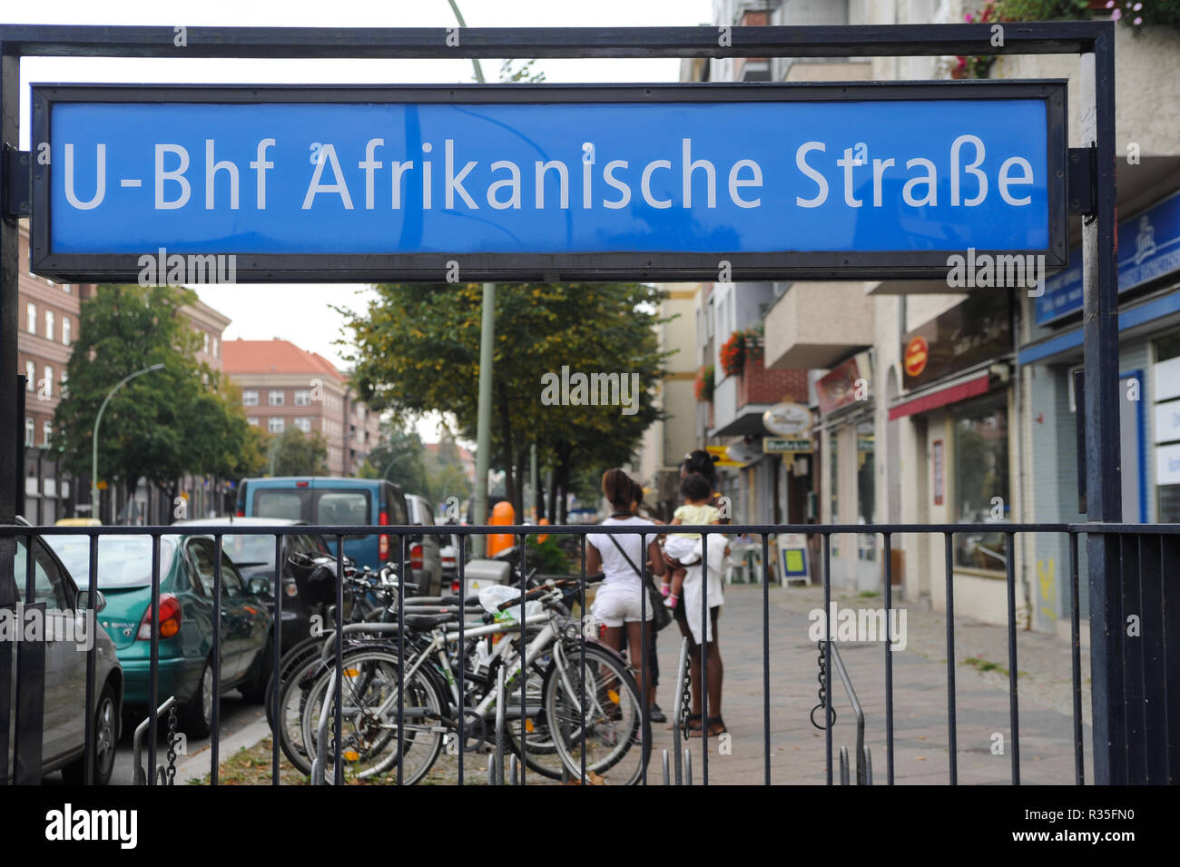 03.10.2011, Berlin, Germany, Europe - Entrance to the underground metro station Afrikanische Strasse in Berlin-Wedding. - Stock Image