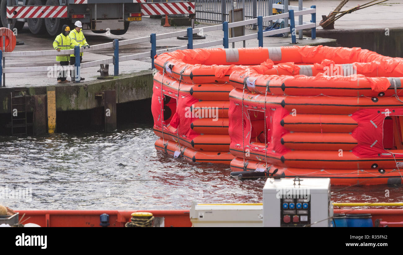 Inflated life rafts, part of a Marine Evacuation System in Aberdeen Harbour, Aberdeen, Scotland, UK - Stock Image