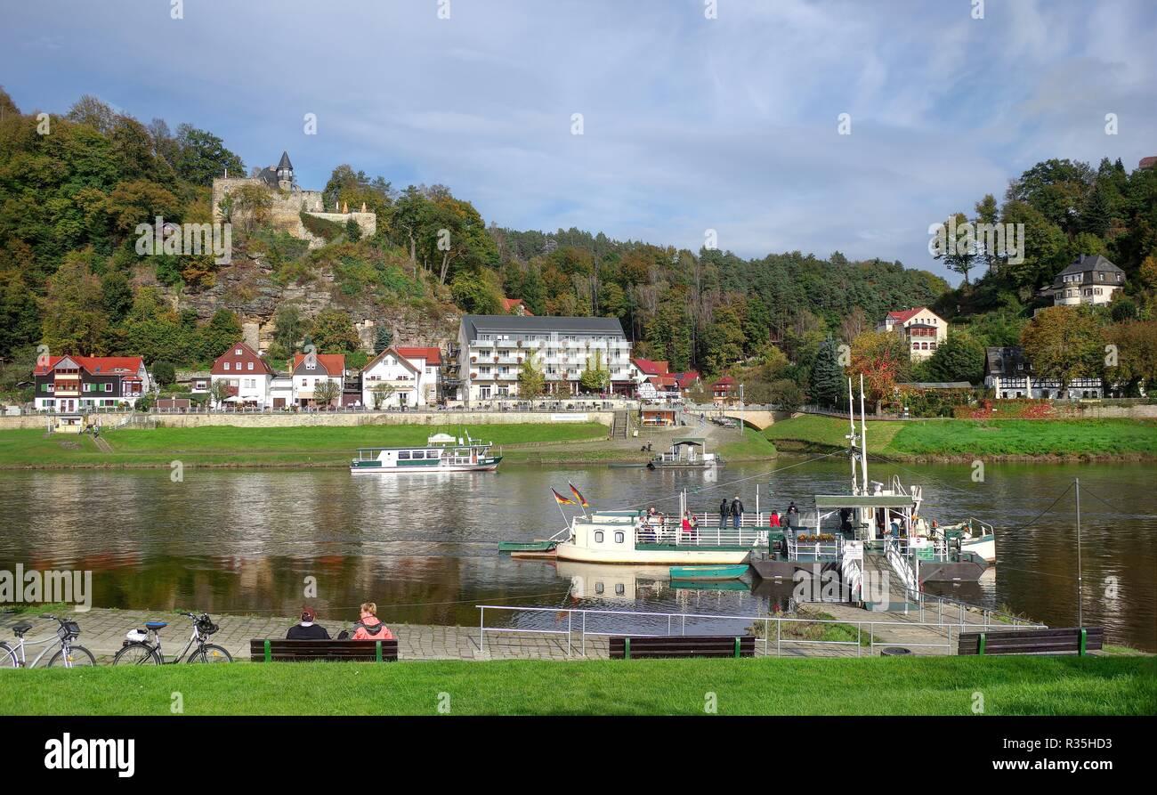 ferry rathen saxon switzerland - Stock Image
