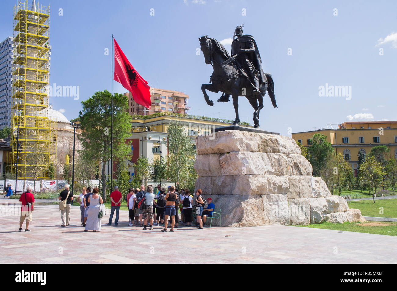 The Hadji Et'hem Bey Mosque, Skanderbeg equestrian statue in Skanderbeg Square in Tirana, the capital and biggest city of Albania. September 7, 2018.  - Stock Image