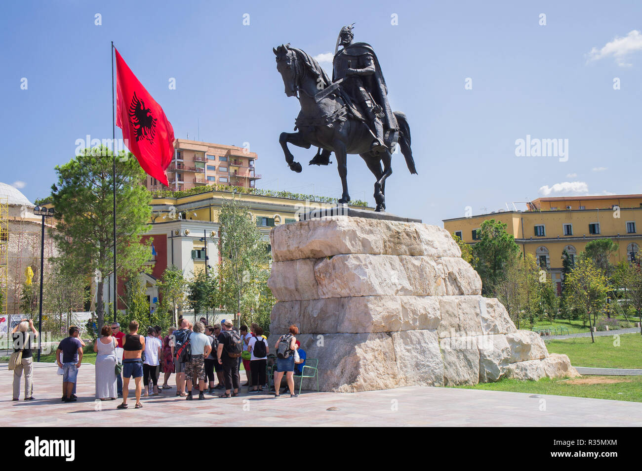The Skanderbeg equestrian statue in Skanderbeg Square in Tirana, the capital and biggest city of Albania. September 7, 2018. The large statue of Skand - Stock Image