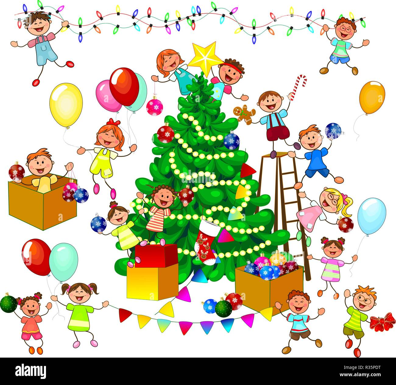Joyful little children decorate the Christmas tree. A group of cheerful, smiling children on a white background. - Stock Vector
