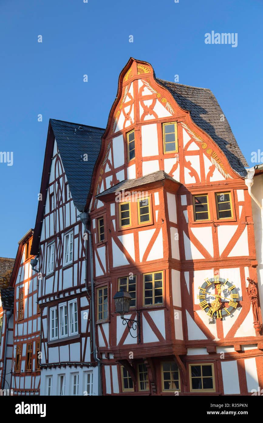 Half-timbered buildings in Bischofsplatz, Limburg, Hesse, Germany - Stock Image