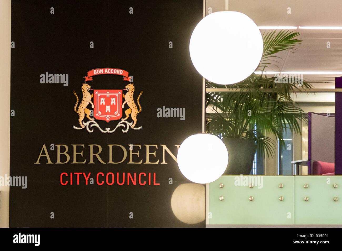 Aberdeen City Council sign at Marischal College Customer Service Centre, Aberdeen, Scotland, UK Stock Photo