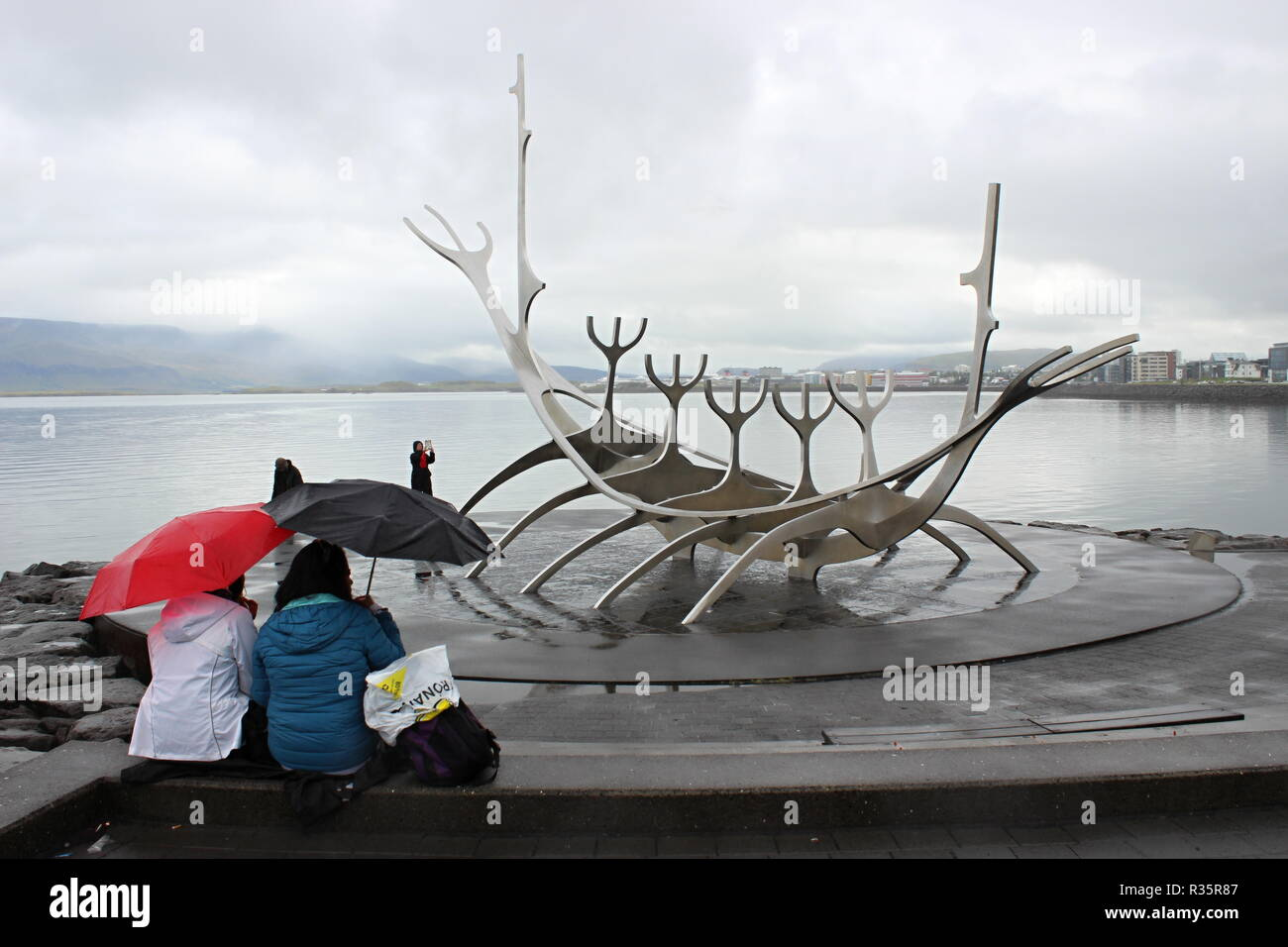 Solfar (Sun Voyager), iconic stainless-steel modern sculpture representing a Viking longboat by Jon Gunnar Arnason, in Iceland's capital Reykjavik pho - Stock Image