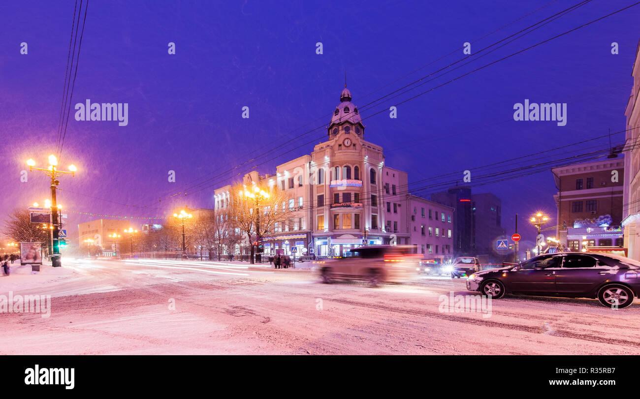 Winter view of Khabarovsk - Stock Image