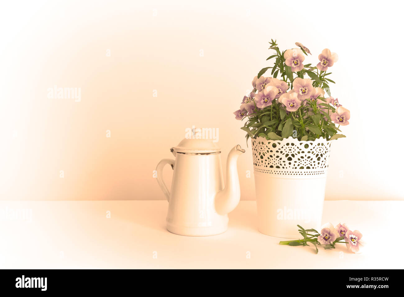 Purple, blue and lilac pansy flowers in a beautiful pot with an enameled jug on white background, copy space, vintage filter effect Stock Photo