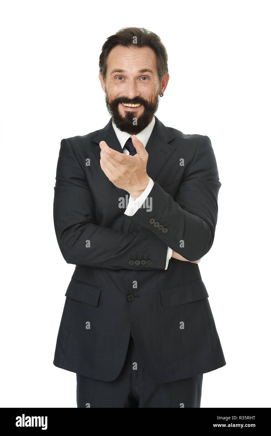 Can you believe that. Man bearded cheerful businessman tell unbelievable story isolated white. Pleasant communication with businessman. Businessman share funny story. Amazing business news. - Stock Image
