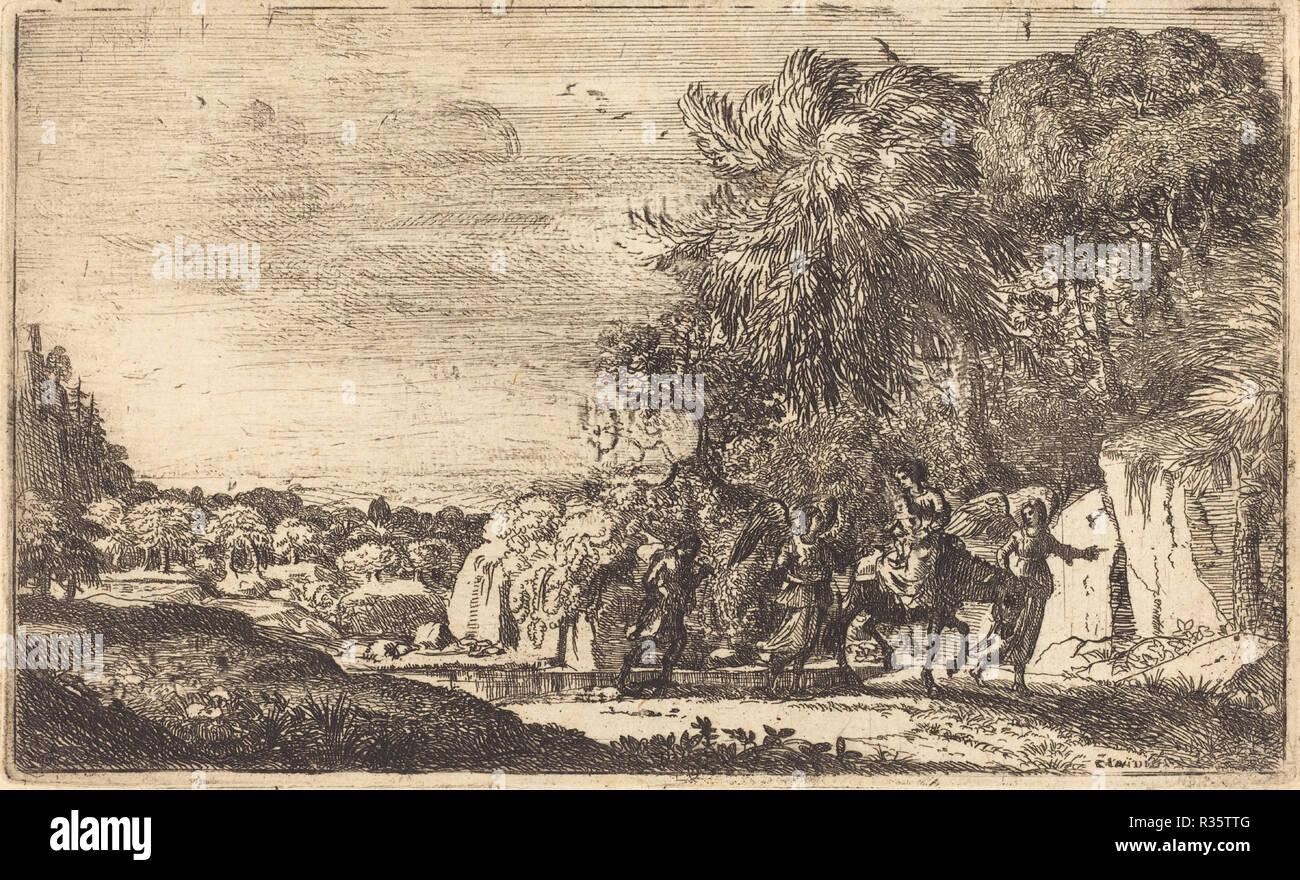 The Flight into Egypt (La fuite en Egypte). Dated: c. 1630/1633. Medium: etching. Museum: National Gallery of Art, Washington DC. Author: Claude Lorrain. Claude Lorrain (Claude Gellée). - Stock Image