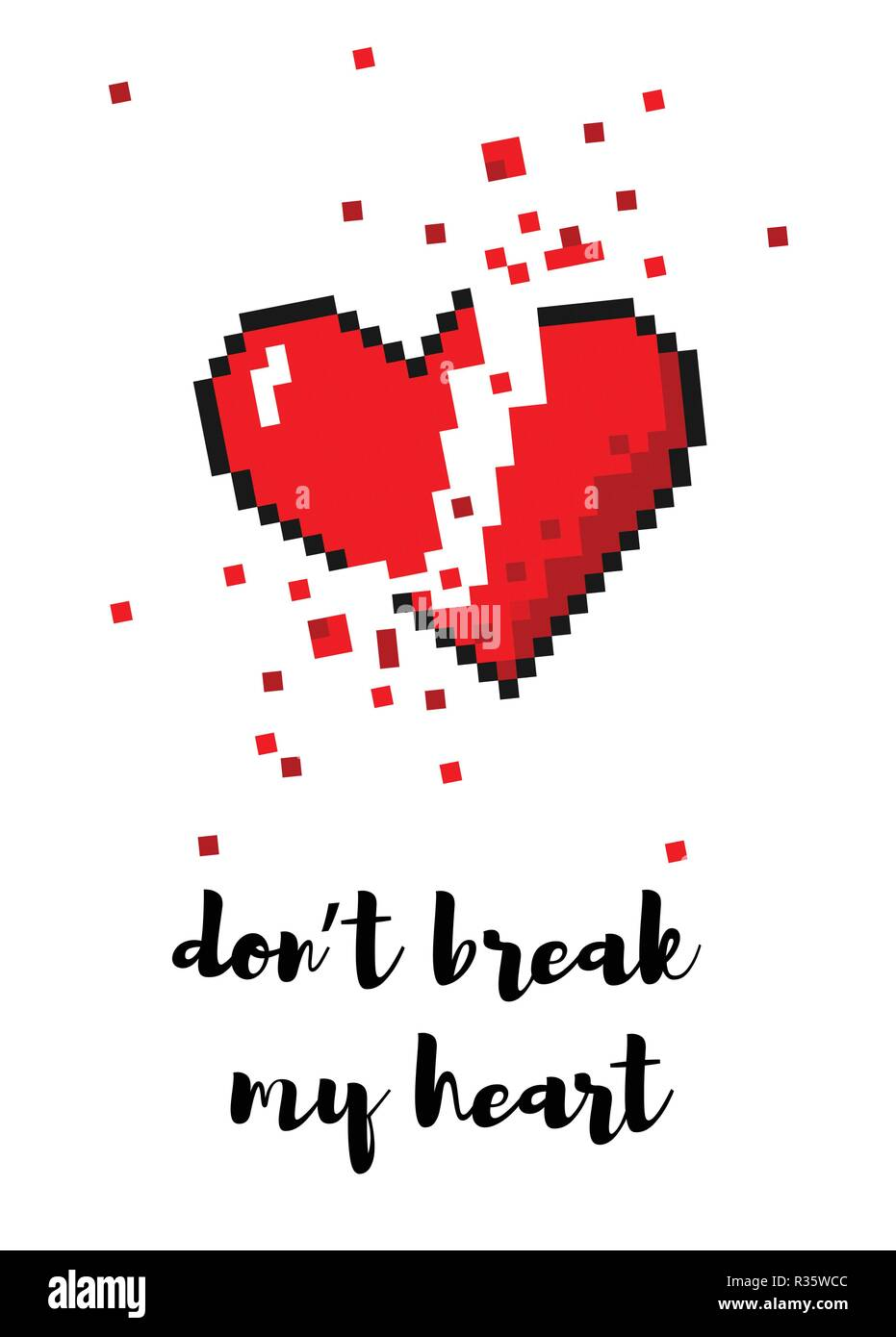 Vector 8 Bit Pixel Art Broken Heart Card Stock Vector Art