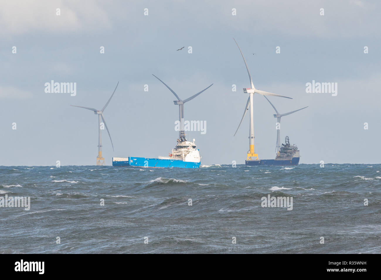 Aberdeen Offshore Wind Farm - European Offshore Wind Deployment Centre - and offshore supply ships, Aberdeen, Scotland, UK - Stock Image