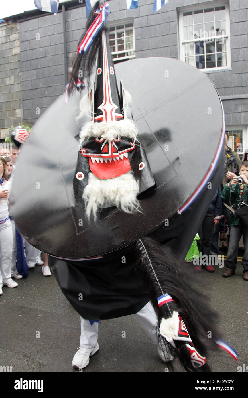 Obby Oss. May Day revels . Padstow, UK 1st, May, Padstow, Cornwall, UK. - Stock Image