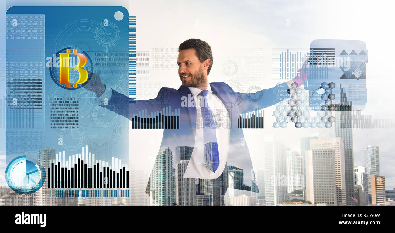 Digital business crypto currency. Bitcoin currency investment strategy. Get started with bitcoin. Calculate bitcoin mining profitability. Businessman interact digital surface crypto currency bitcoin. - Stock Image