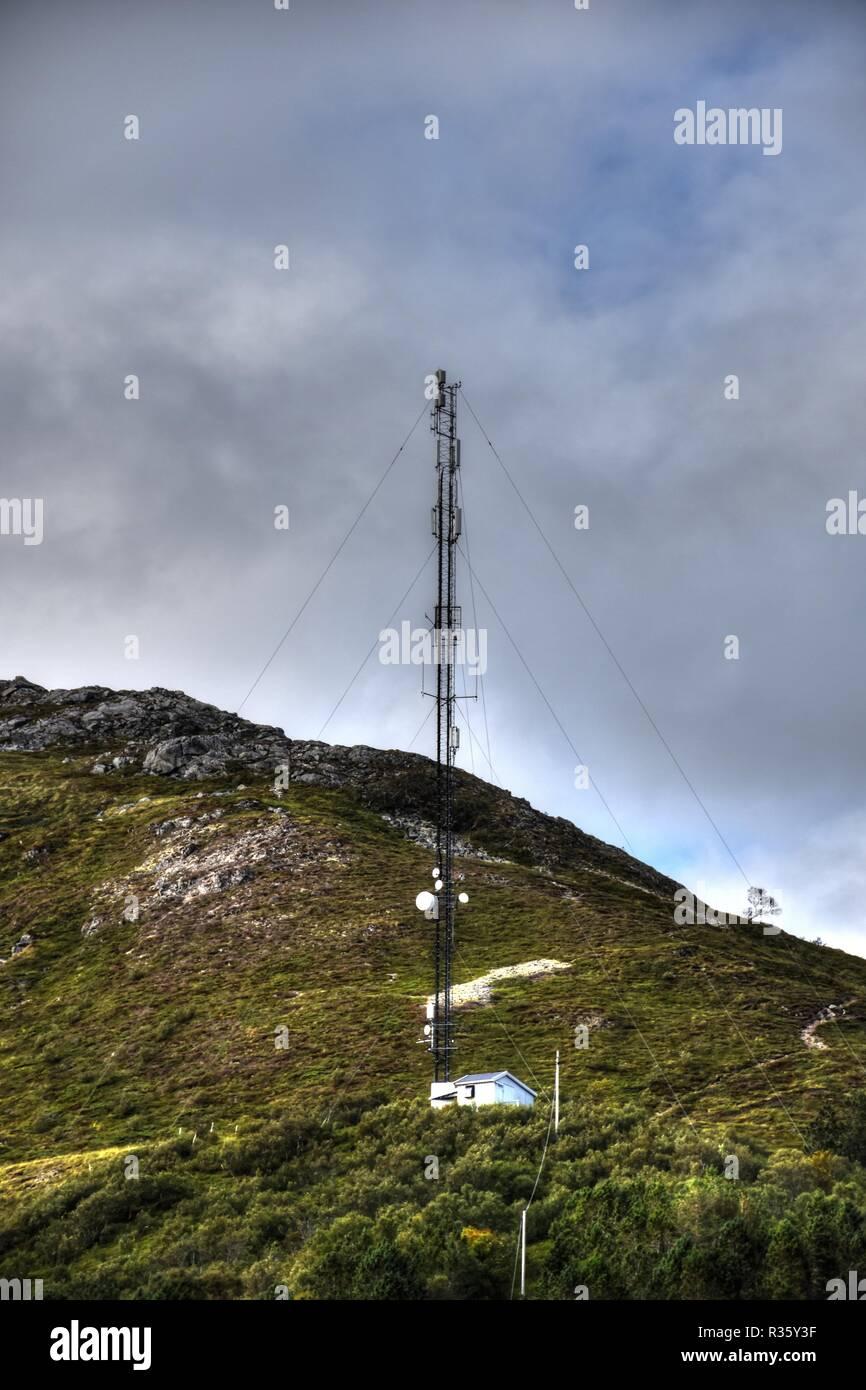 Norwegen, Lofoten, Leknes, Vestvagøya, Sender, Sendemast, NRK, DAB Plus, DAB+, Radio, Rundfunk, Digitalradio, DVB-T, Fernsehen, Digitalfernsehen, Mast - Stock Image