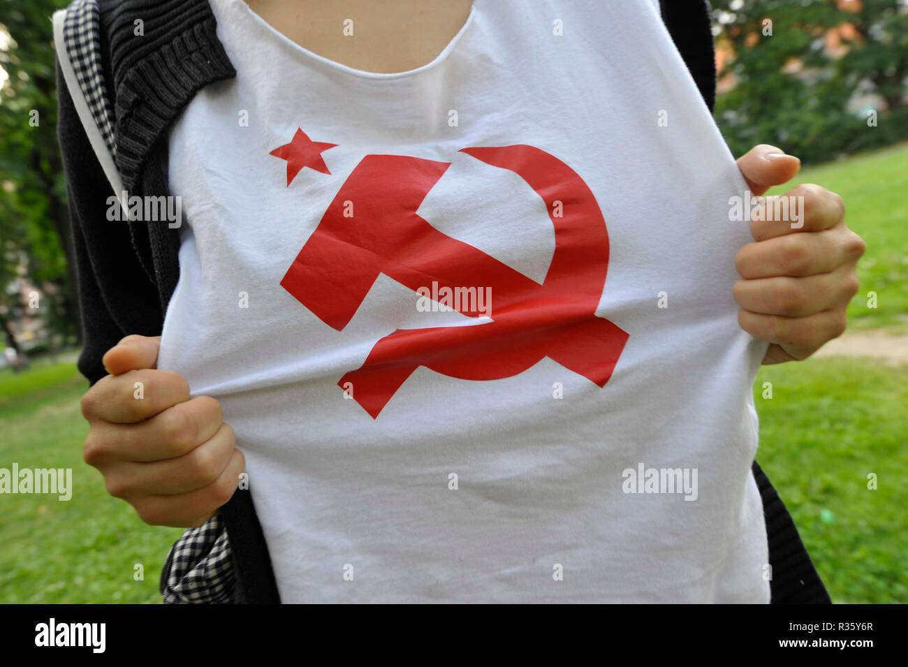 hammer and sickle,hammer-sickle,hammer,sickle,communism,democracy,state - Stock Image