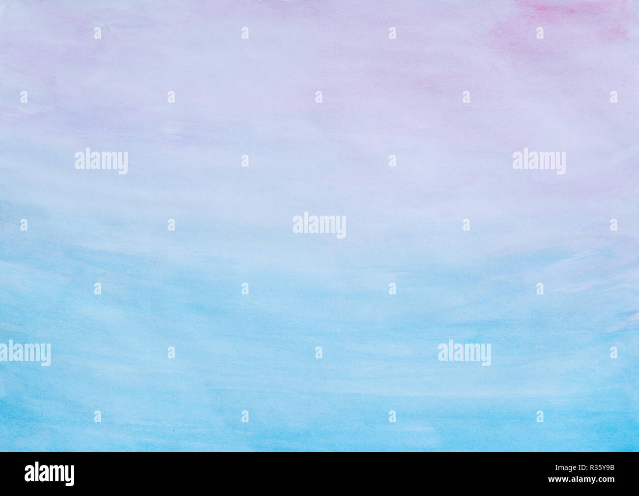 Abstract pink and blue watercolor gradient fill background with watercolour stains and paper texture. - Stock Image