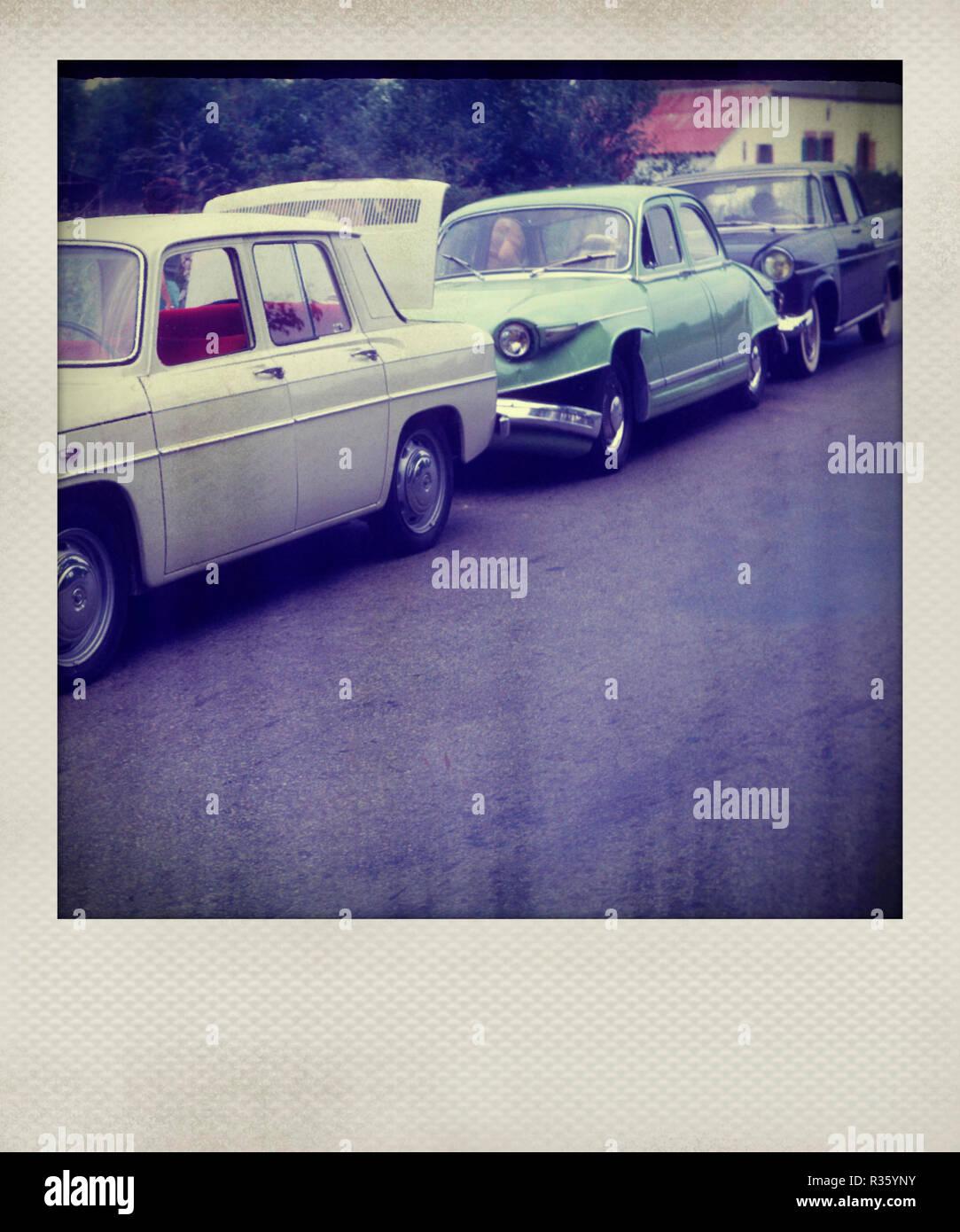 Polaroid effect of vintage cars - Stock Image