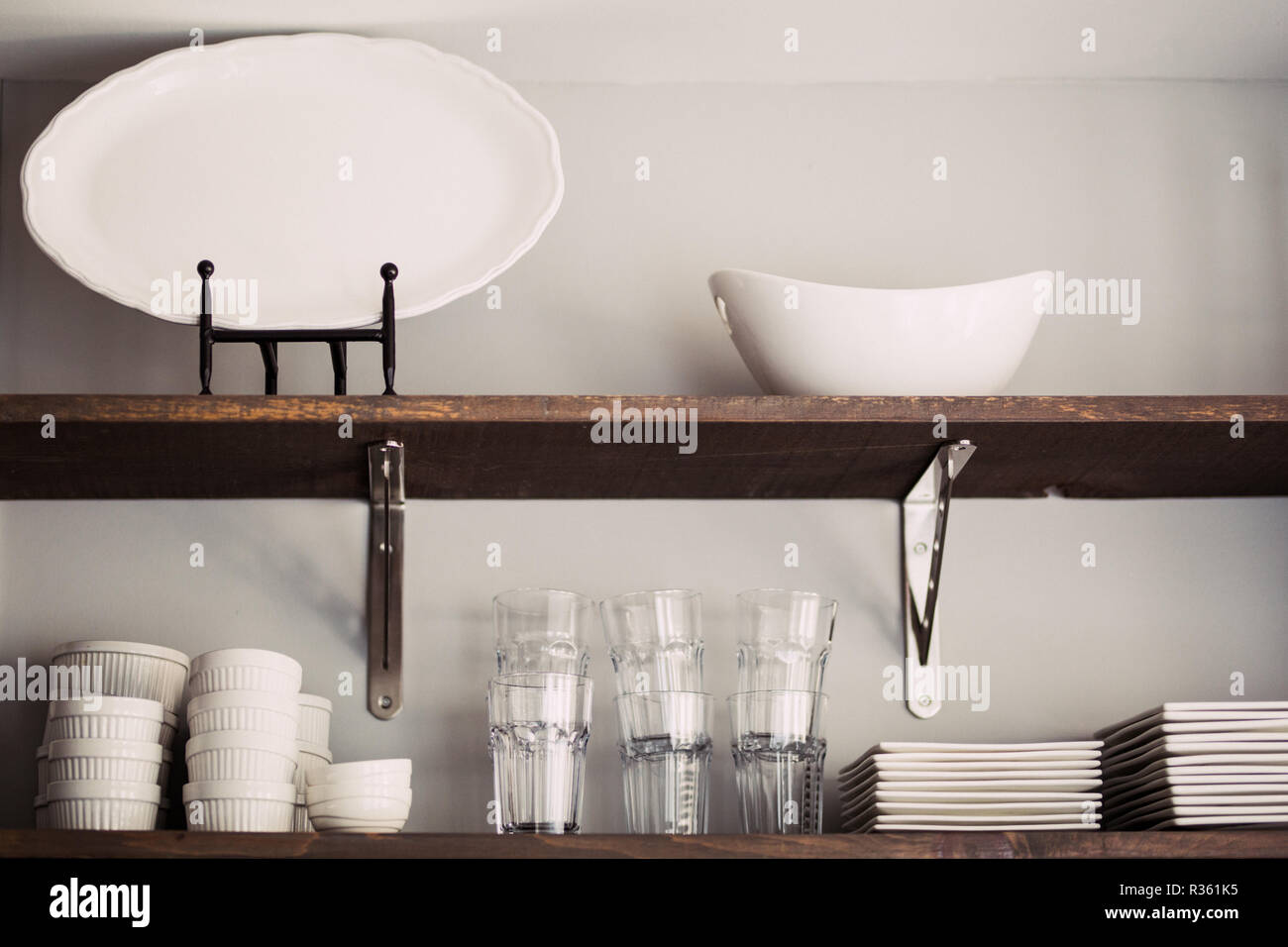Plates Crockery Shelf Shelves Stock Photos & Plates Crockery Shelf Shelves Stock Images
