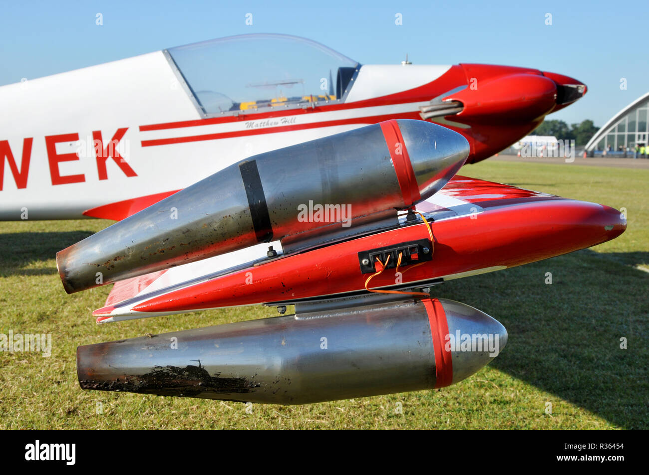 Fournier RF-4D powered glider, motor glider plane ready to display at an airshow. Smoke generator equipment on the wing tip. Pyrotechnics. Wingtip - Stock Image