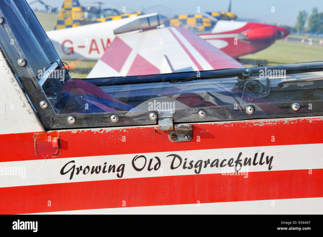 Fournier RF-4D powered glider, motor glider plane ready to display at an airshow. Owned and flown by Bob Grimstead, Growing Old Disgracefully - Stock Image
