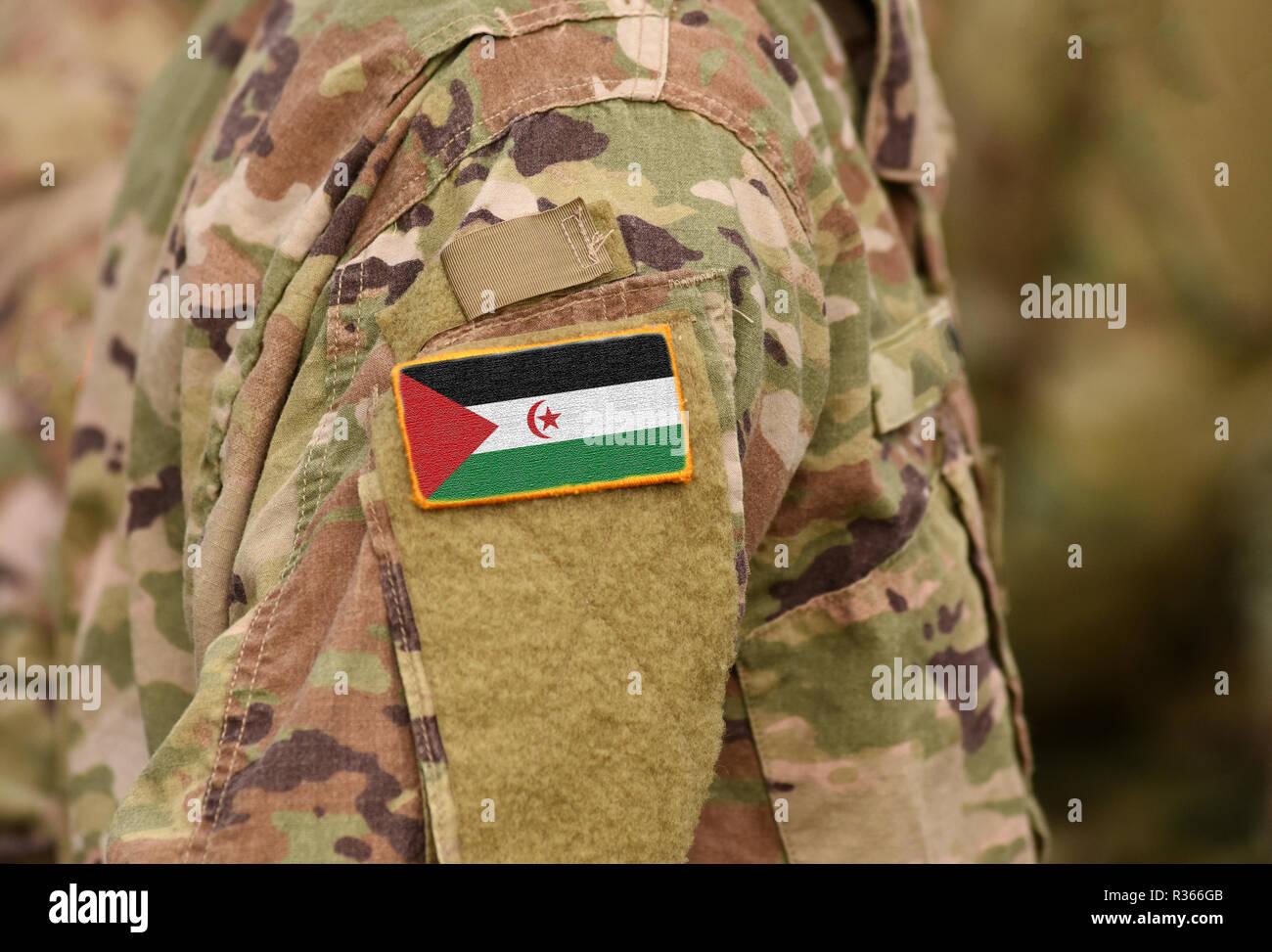Sahrawi Arab Democratic Republic flag on soldiers arm. Sahrawi Arab Democratic Republic troops (collage) - Stock Image