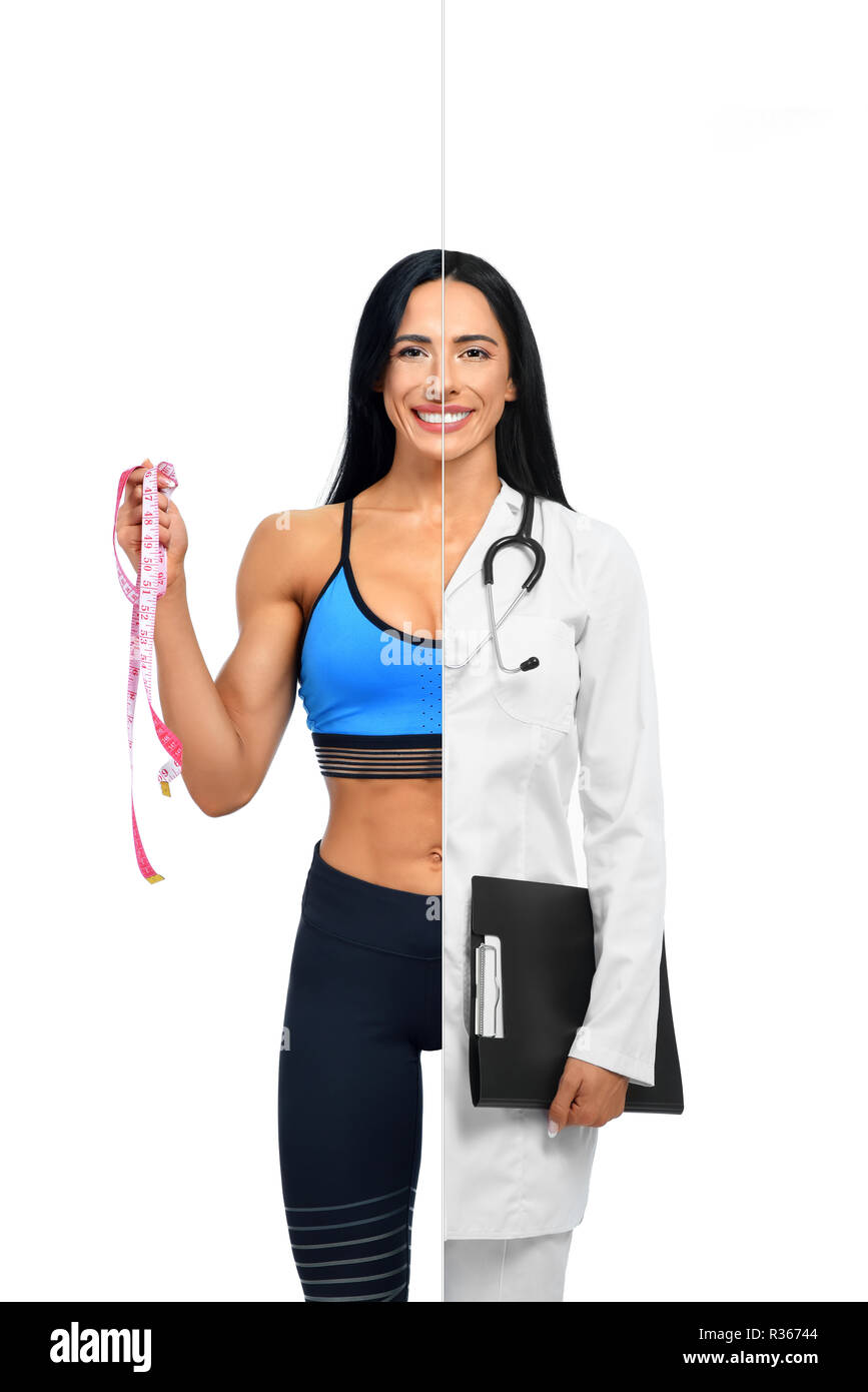 Happy girl in two occupations of fitness trainer and doctor isolated on white background. Doctor in white coat with folder in hand and with stethoscope and other fitness coach holding measuring tape. - Stock Image