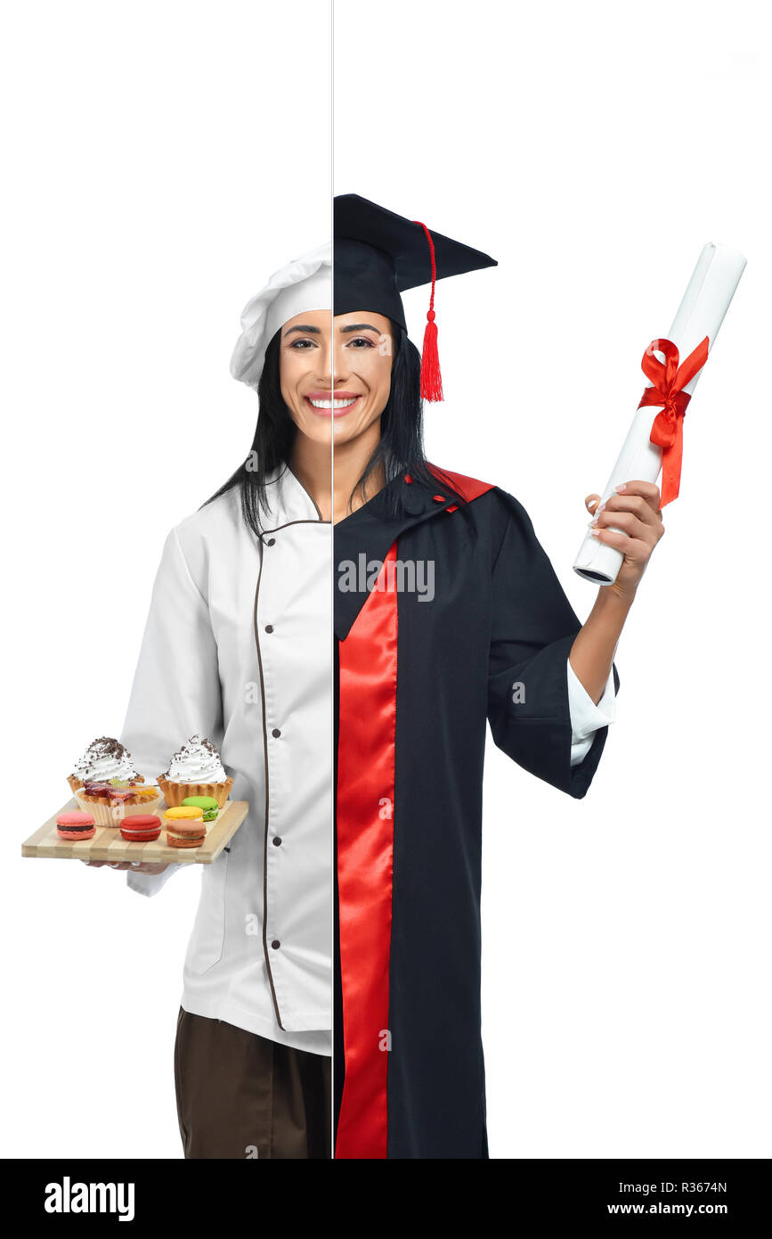 Girl in two occupations of confectioner and university graduate isolated on white background. Student graduate wearing mantle and holding diploma and confectioner in uniform holding desserts on tray. - Stock Image