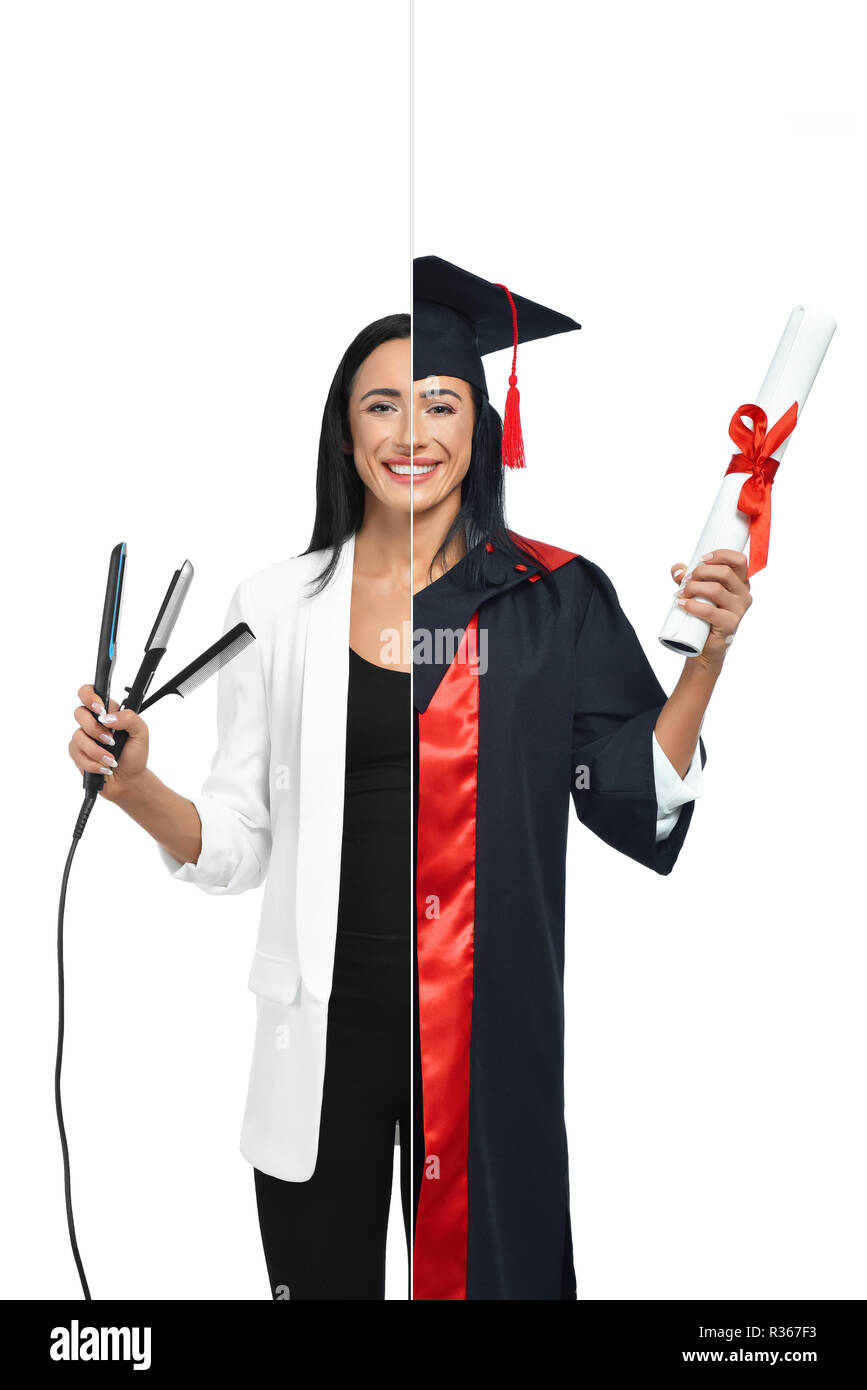Cute girl in two occupations of hairdresser and university graduate isolated on white background. Student graduate wearing mantle, holding diploma and hairdresser in white jacket holding hair iron. - Stock Image