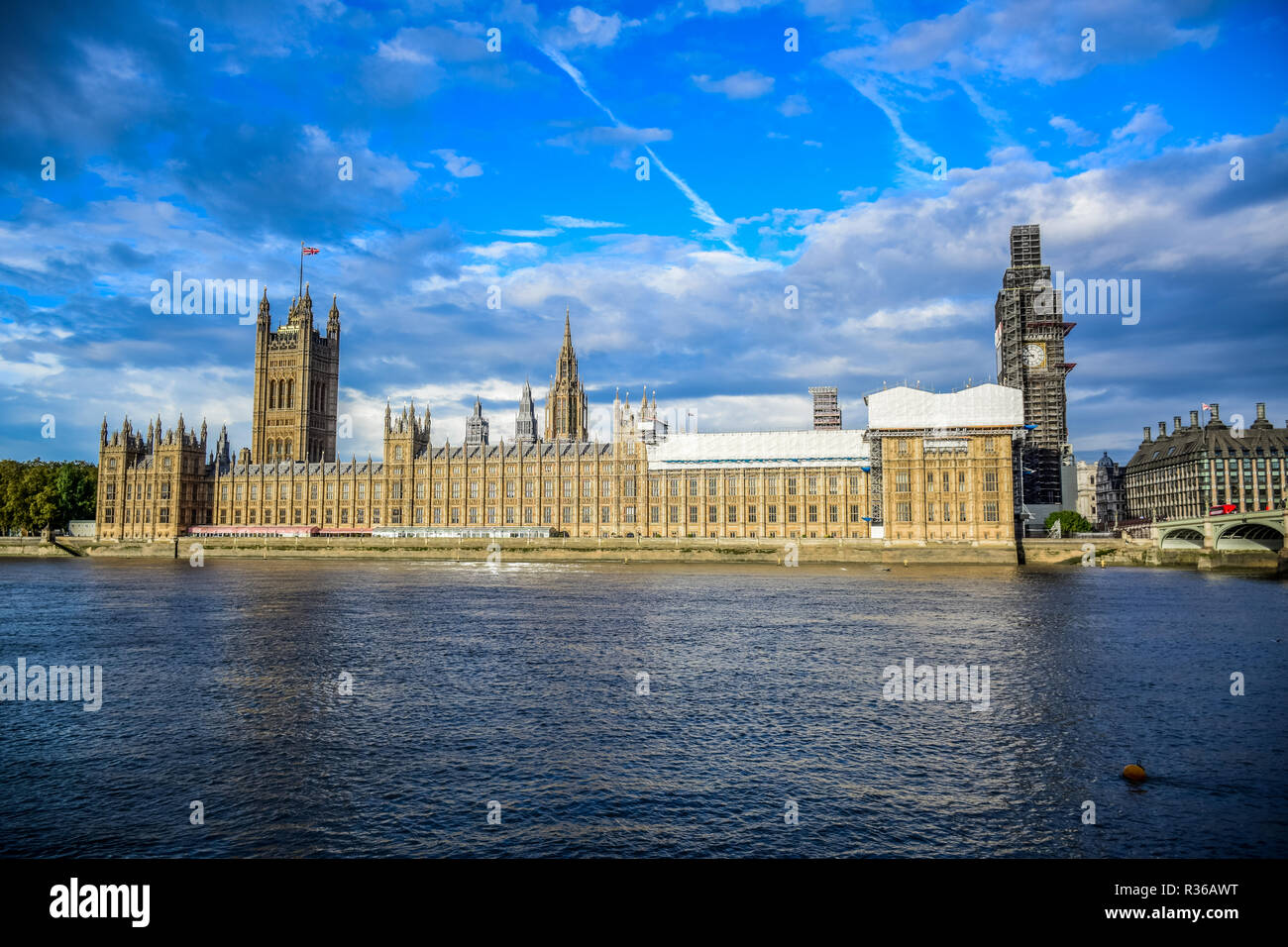 Houses of Parliament and The Big Ben clock tower under repair and maintenance, London, England, United Kingdom Stock Photo